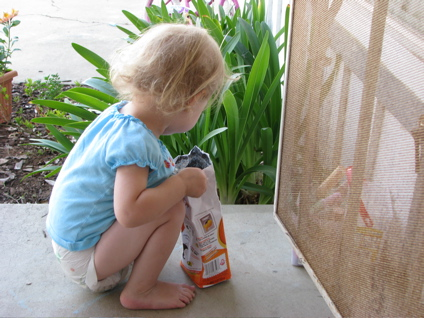 Girl and goldfish