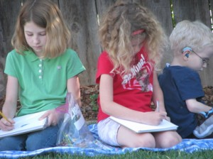 trio of backyard sketchers, 2009