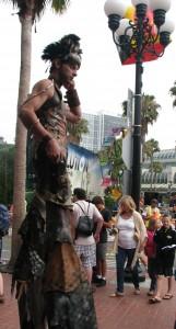 steampunk stilts dude at San Diego Comic-Con