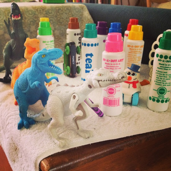 dinosaurs and dot paints