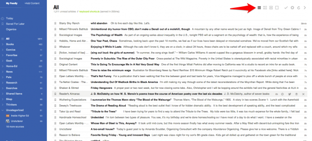 Feedly titles only view