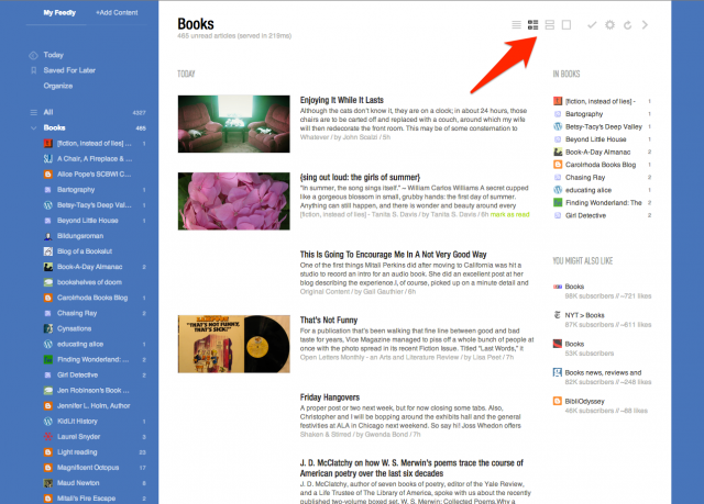 feedly thumbnail view