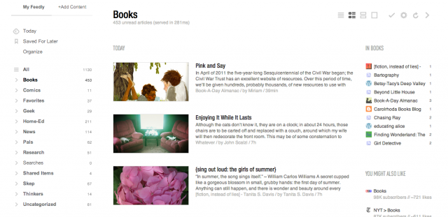 Feedly in white
