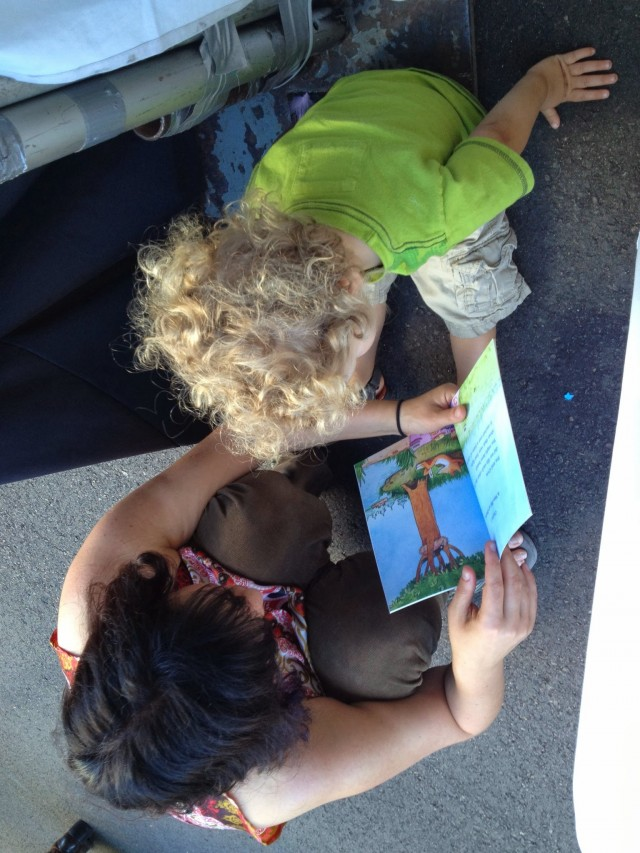mom and boy read fox and crow