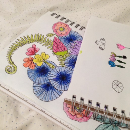 Art journaling with Rilla, modeling a piece by Lisa Congdon.