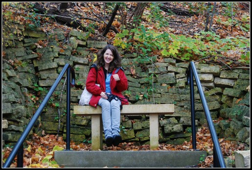 Betsy and Tacy's bench on the hill. Photo by Margaret Berns.