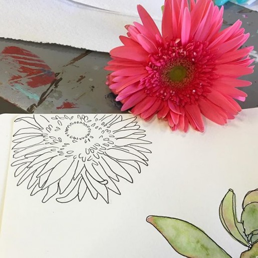 watercolor gerbera daisy (1)