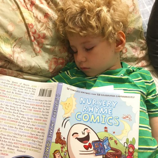 Huck falls asleep reading Nursery Rhyme Comics