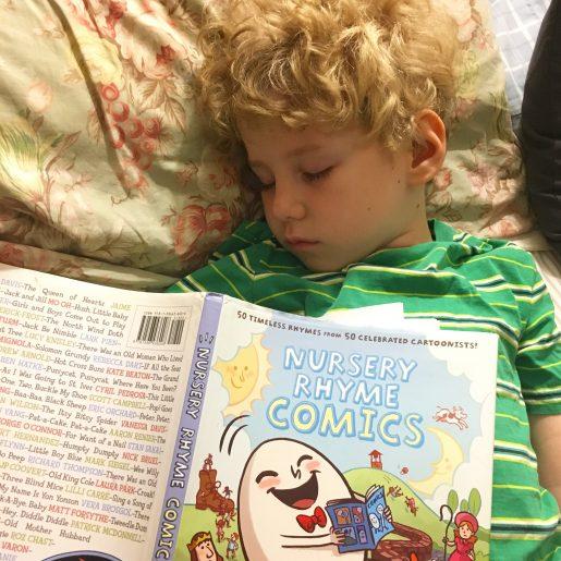 Huck falls asleep reading Nursery Rhyme Comics