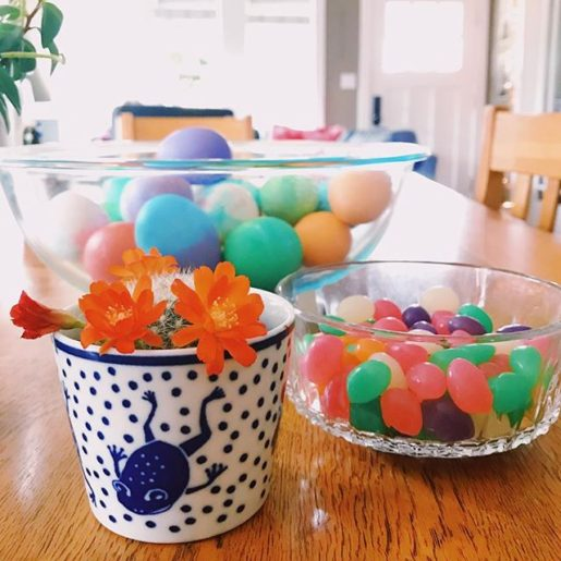 jellybeans, easter eggs, and a blooming cactus