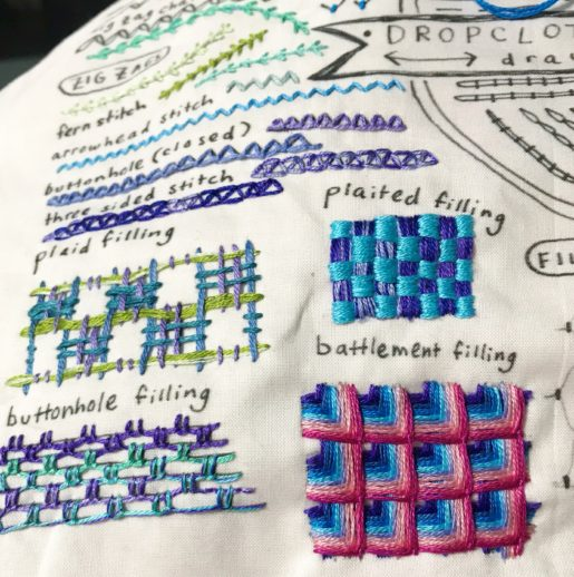 image of filling stitches on embroidery sampler