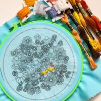 autumn flowers embroidery project