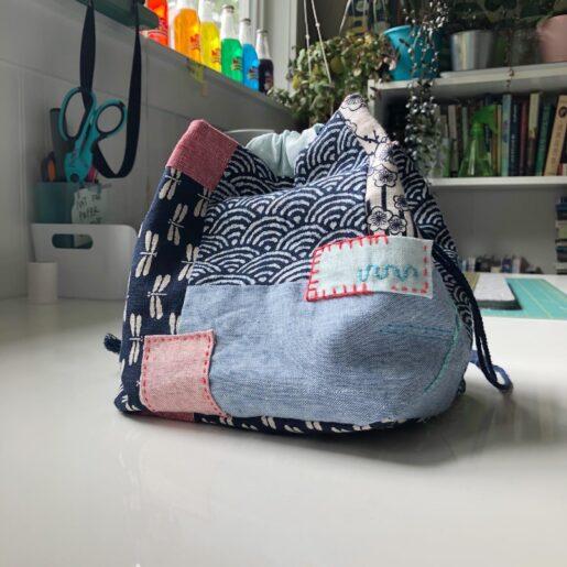 Photo of a handmade drawstring bag