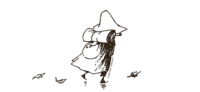 a line drawing of Snufkin walking away with his pack on his back, leaves blowing at his feet