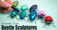 Saturday night art date: polymer clay bugs